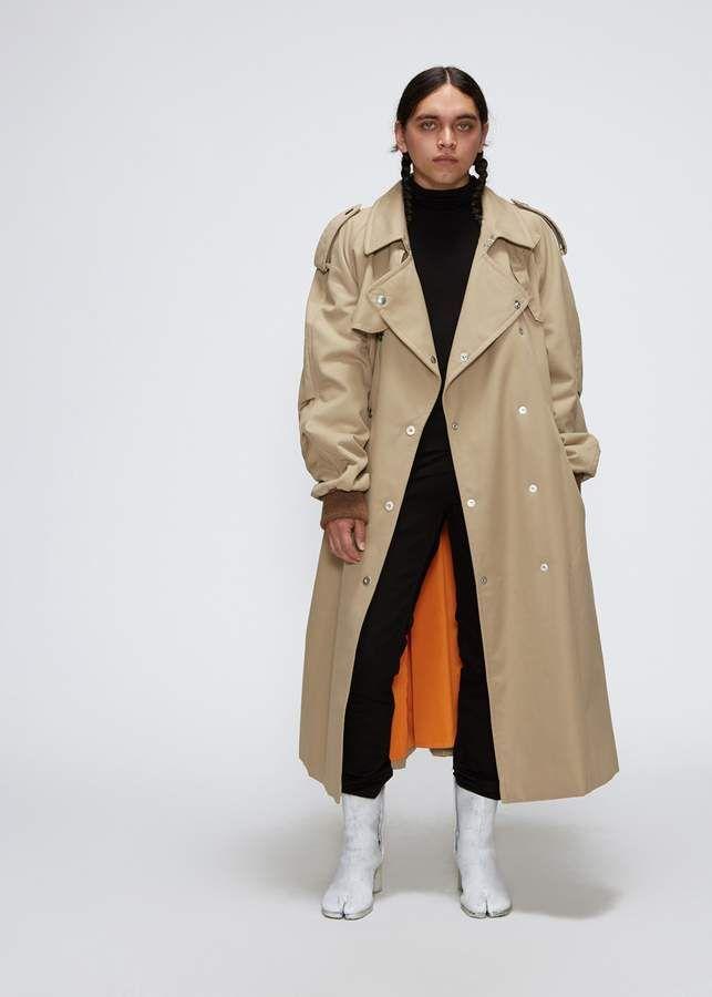 Maison Margiela Oversized Twill Trench, Oversized Trench Coat Mens