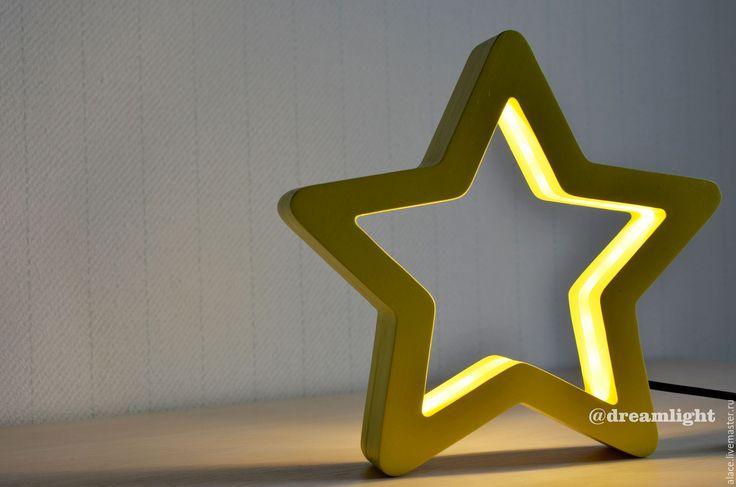 Купить Детский ночник Звездочка - желтый, фанера, ночник, ночник в детскую, ночник из дерева, светильник