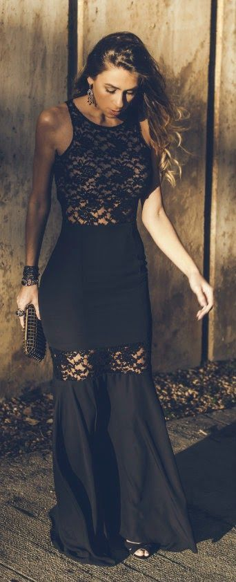Modern Black Lace Sleeveless Maxi Dress