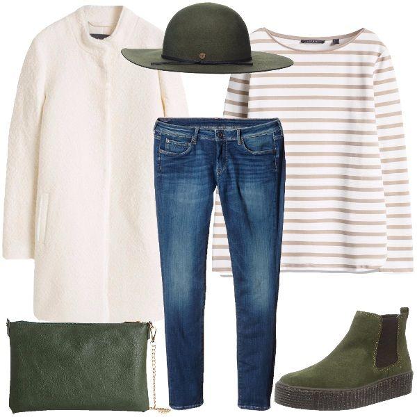 Chi parte per le feste e deve preparare la valigia, ha sempre il dubbio di non portare tutto il necessario e di ritrovarsi a fare abbinamenti improvvisati una volta arrivate a destinazione. Questo look risolve il problema, proponedo capi basici ma abbinati con stile, che si adattano a tutto, nello specifico abbiamo il cappotto bianco, il jeans skinny, la maglia bianca a righe, la pochette verde, come il cappello. Completano il look le slip on alte verdi.