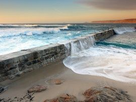 Fence Shore Ocean Waves wallpapers | Free Desktop Wallpapers