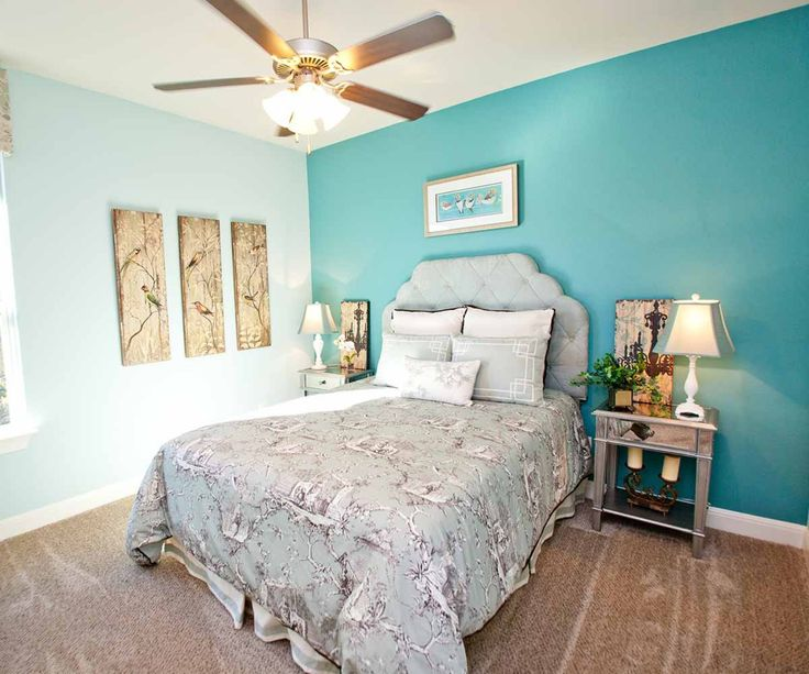 bedroom idea paint a bright blue wall and light blue wall