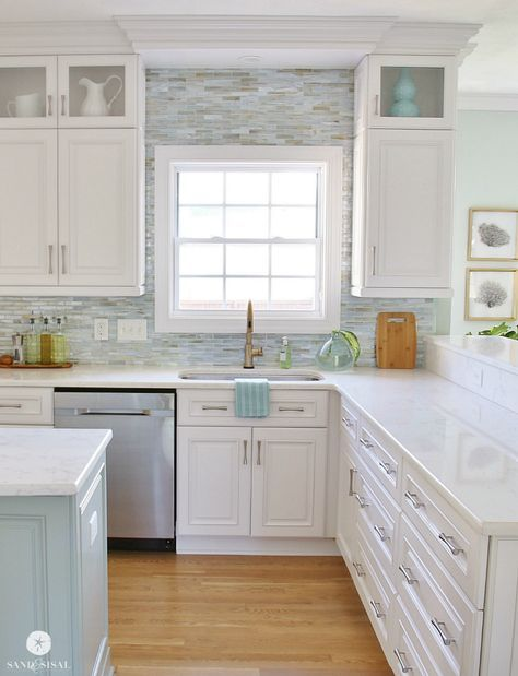 "Read More""See our process for Installing a Paper Faced Mosaic Tile Backsplash in our coastal kitchen with tile by Lunada Bay Tile Company.*****love the top"