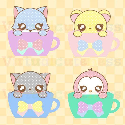 Pastel Chibi Tea Cups Clipart - Animals, Kawaii, Tea Time