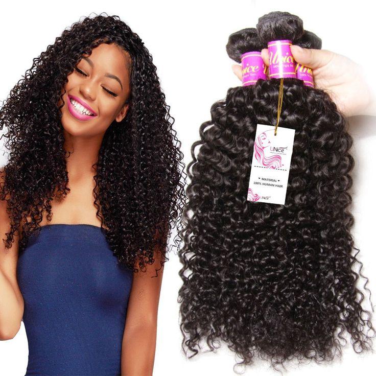 UNice Hair Wholesale 7A Grade Peruvian Curly Hair 3 Bundles, 100% Virgin Cheap Human Hair Weft Extensions Natural Color 95-100g/piece (14 16 18)