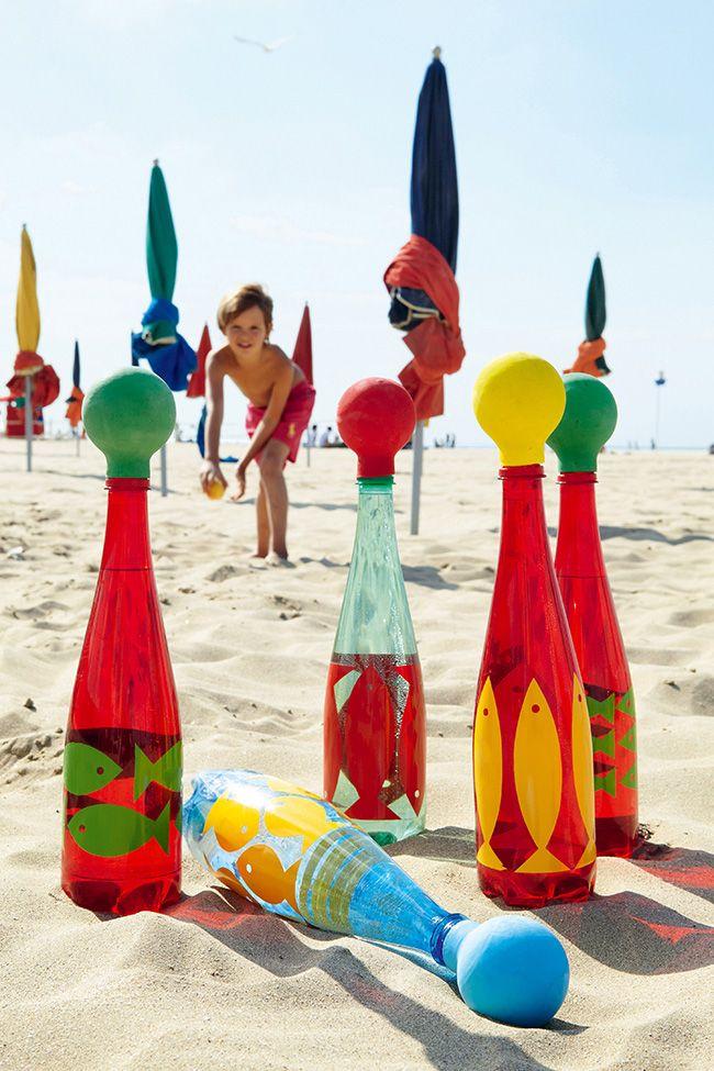 Récup: un jeu de quilles avec des bouteilles en plastique