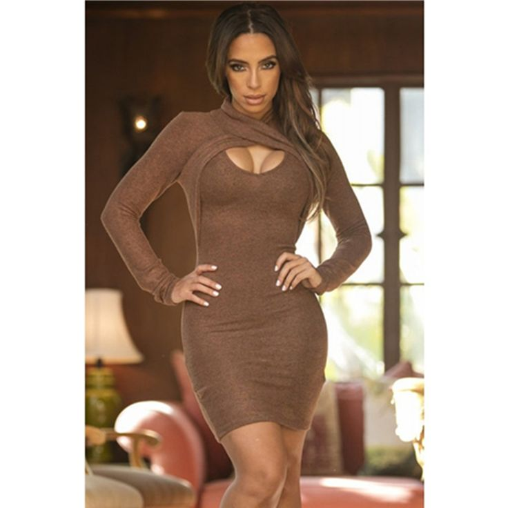 Fashion 2016 Autumn Women Clothing Brown Long Sleeve Ruched Wrap Front Bodycon Dress Hollow Out Fashion Bodycon Dress L27955-3