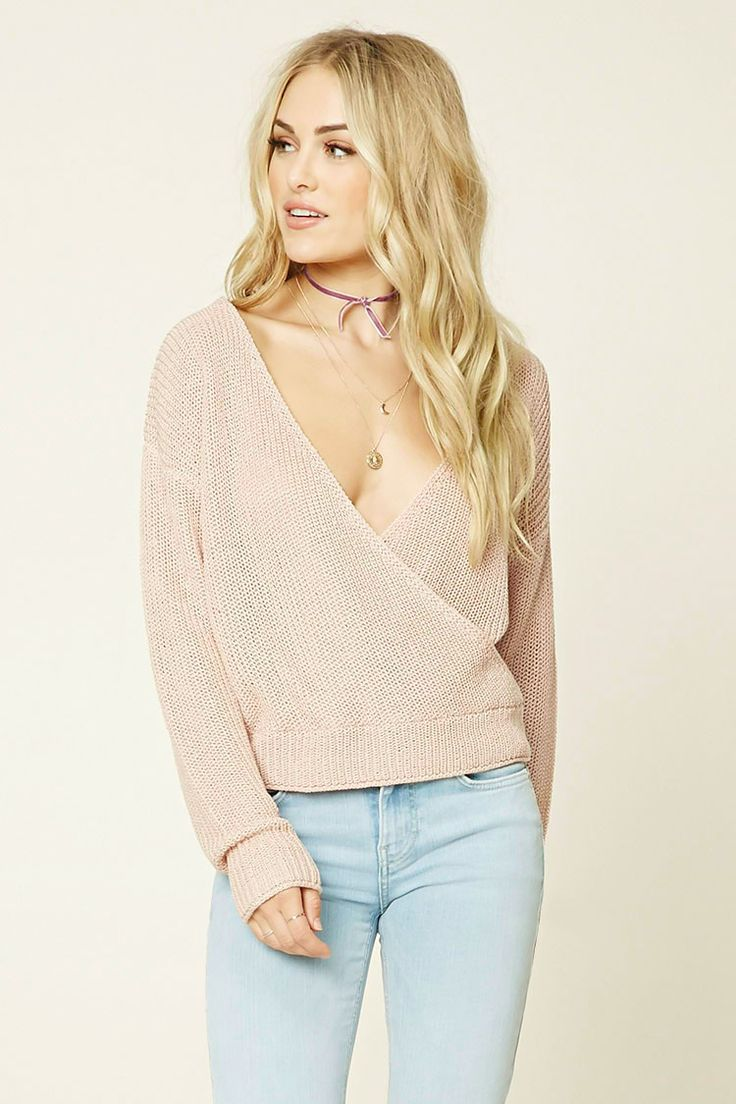 Forever 21 Contemporary - A loop-knit sweater top featuring a plunging surplice…