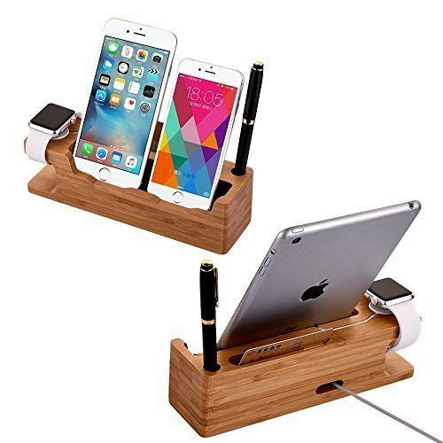 Charger Stand Holder iPhone Bamboo Charging Dock For Apple Watch iPhone 38 42mm #ChargerStandHolderiPhoneBamboo