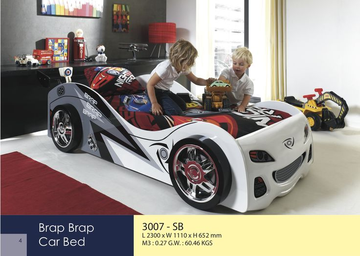 The Brap, Brap car bed is a perfect piece for any child who loves cars! This bed adds a playful look to your child's room and is durable enough for your child to play on. The Brap, Brap Bed is made exactly to the shape of a racing car and comes with alloy wheels, front grill, slats and a head end. The Brap, Brap Bed is a must for any young speed king and it will compliment any young child's bedroom.  http://www.chicconcept.co.uk/5168-brap-brap-car-bed-5055157613983.html