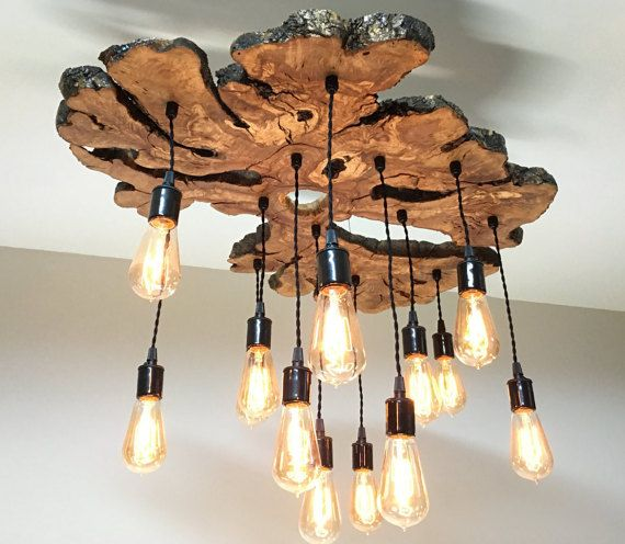 Custom Large Live Edge Olive Wood Slab Chandelier Light Fixture With Edison Bulbs