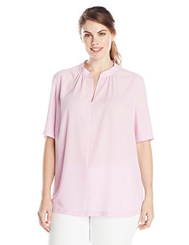 NYDJ Women's Plus-Size Double Georgette Pop Over Blouse