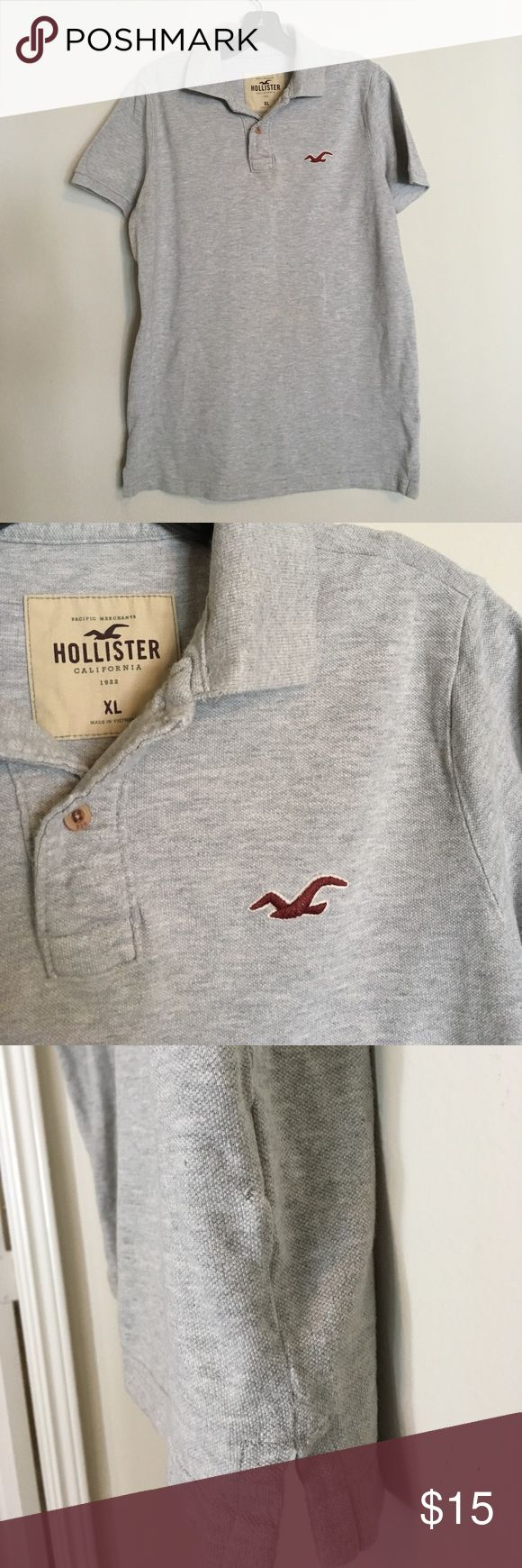 Hollister Polo Collar Shirt A good everyday wear shirt in preloved condition- no stains or damage other then a pinhole near side hem (see photo). I'm open to offers. This brand runs small- labeled xl, but I'm listing it as a small. Hollister Shirts Polos