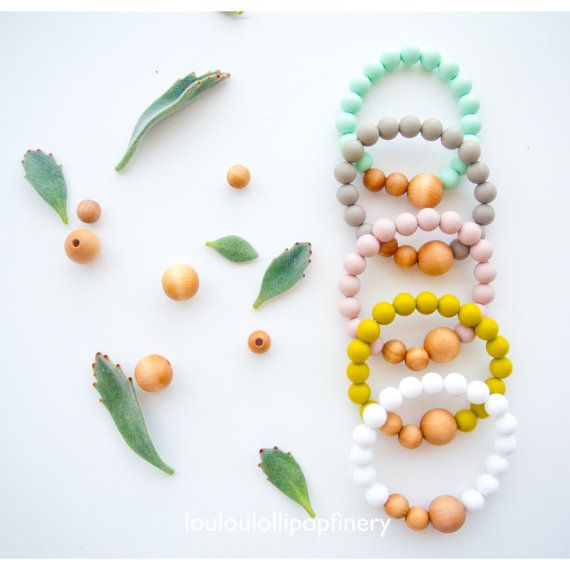 Naturalist Bracelet - Organic Wood + Silicone Beads, 17 colours , 2 sizes, fashion, gift, baby shower