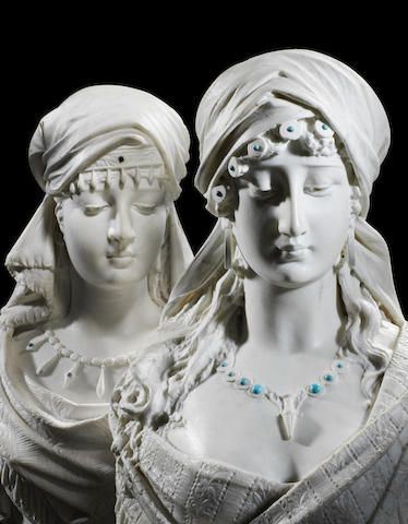 "Emile Coriolan Hippolyte Guillemin (1841-1907) Two white marble busts of Oriental ladies, possibly ""Sulamita"""