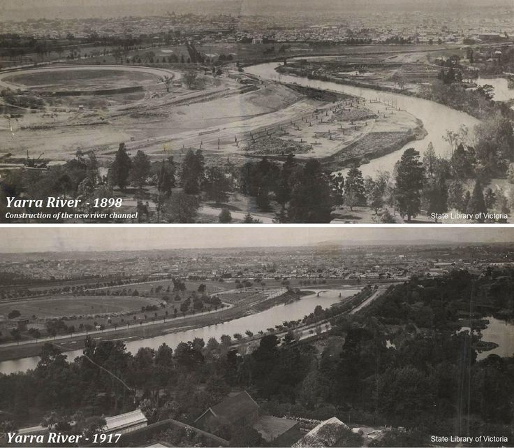YARRA RIVER DIVERSION: The straightening and widening of the Yarra river between the City and Richmond, between 1896 and 1900. The aim of the diversion was to eliminate a sharp S-bend in the Yarra River which would've alleviated flooding upstream and provided a smooth flow of water downstream. The top photo, taken in 1898 shows the original course of the river and the construction of the new channel. The bottom photo was taken in 1917 Photos: State Library of Victoria