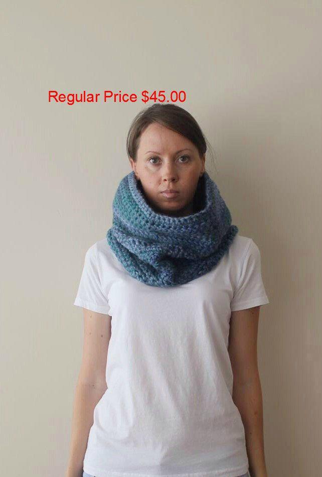 SALE! Blue Chunky Cowl Neckwarmer-Blue Chunky Crochet Cowl-Colorful Loop Scarf-Crochet Blue Green Hood-Ready To Ship by…