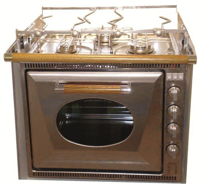 """#Gasolspis #Dometic CU335 GTWM Gasolspis i rostfritt stål med ugn på 32 liter. Denna lyxmodell har 3 brännare. Alla """"finesser"""" är standard grillelement, ugnsbelysning, eltändning samtliga brännare, termostat med gasventil till ugnen, barnspärr, kokkärlshållare samt exklusivt trähandtag på ugnsluckan. OBS! Balansupphängning med skyddsstång i matchande trä säljes som tillbehör."""