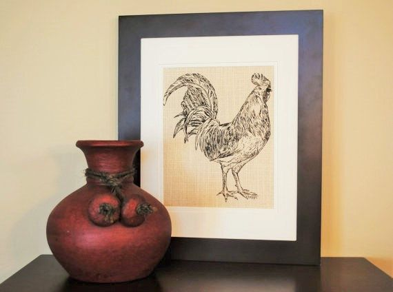 Kitchen Wall Decor - Screen Printed Linen - Similar to Burlap - Dark Brown Wall Art of a Rooster - Cute Bridal Shower Gift