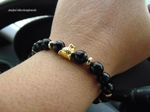 Black Onyx Men Women Wristband with Gold Plated Leopar Head and Gold Hematite