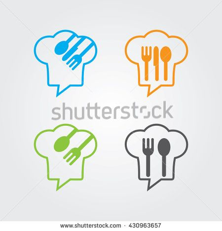 Chef Talk logo concept with chef hat icon. Logo for cooking, cafe communication and menu. - stock vector