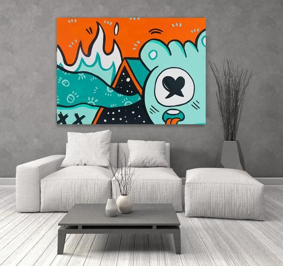 Colorful Wall Decor Wall Art Painting Canvas Wall Decor Etsy Pop Art Canvas Graffiti Wall Art Wall Canvas Painting