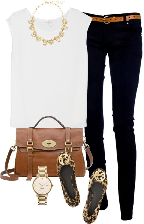 Classic everyday wear white top, black skinnies, ❤leopard flats, timeless watch & brown handbag my  fav!