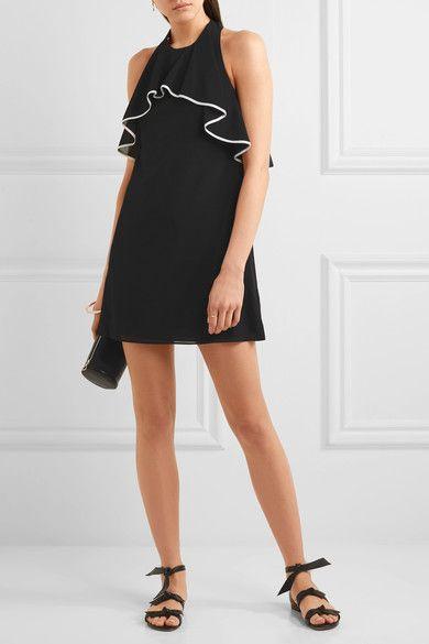 Алиса + Оливия   Gwenie трепал смесь шелка с открытой спиной мини-платье   NET-A-PORTER.COM