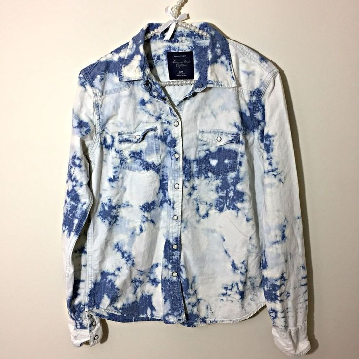 American Eagle Women's M Tie Dye Chambray Western Shirt White Blue Snap Front  #AmericanEagleOutfitters #Western #Casual