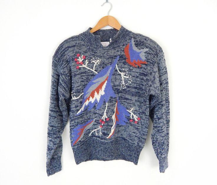 Vintage 80s Winter Berries Avant Garde Women's Sweater - Blue Gray Heathered Knit Pullover Jumper - Size Medium