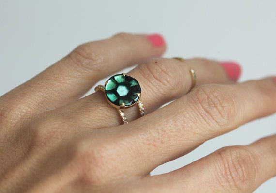 Smeraldo anello di fidanzamento Halo Anello smeraldo di capucinne