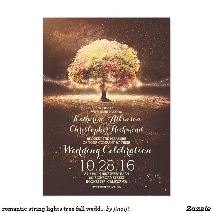 fast shipping wedding invitations%0A String Lights Tree Elegant Vintage Fall Wedding Card