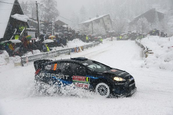 Elfyn Evans of Great Britain and Daniel Barritt of Great Britain compete in their M-Sport Ltd Ford Fiesta RS WRC during Day Three of the WRC...
