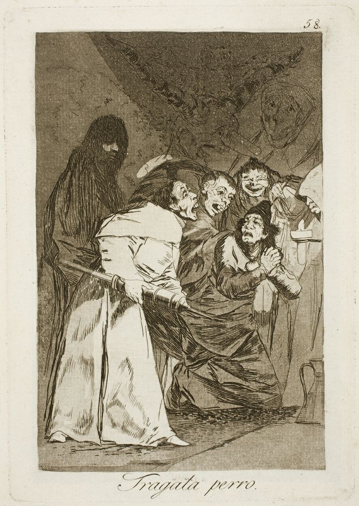 "Francisco de Goya: ""Tragala perro"". Serie ""Los caprichos"" [58]. Etching, aquatint and drypoint on paper, 214 x 151 mm, 1797-99. Museo Nacional del Prado, Madrid, Spain"