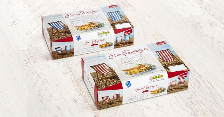 We were asked to help bring the Harry Ramsden's experience into the home with this range of frozen fish packaging.  We used another British seaside icon - deckchairs with different colour stripes to differentiate between the products. The products are now available to buy in Sainsbury's stores.  #packaging #Harry Ramsden #Packaging design #frozen food #The Allotment Creative Marketing Agency