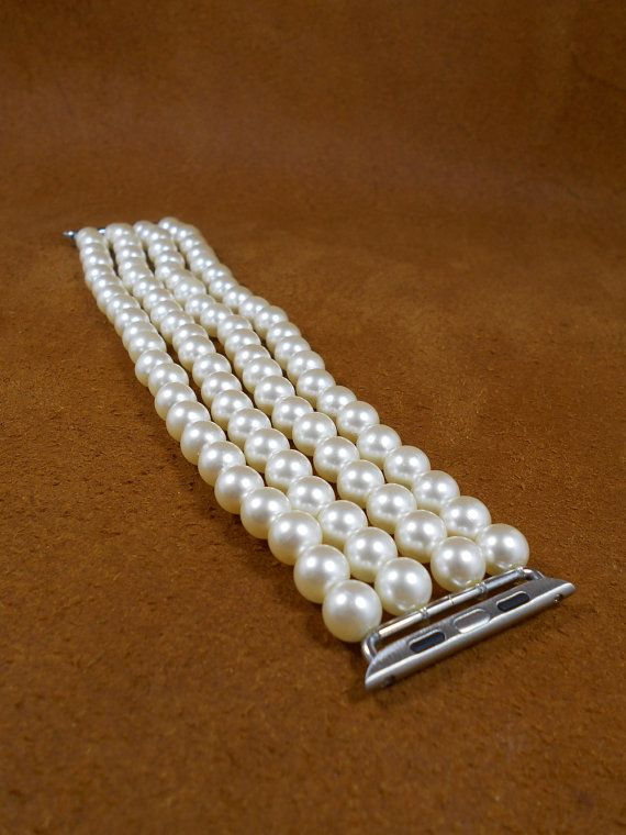 Apple Watch Band 38 mm featuring faux pearl white beads Apple