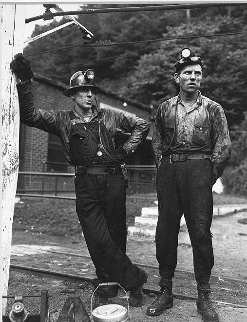 Coal miners waiting for the mantrip. Gary, McDowell County, WV. 1946. Kentuckiana Digital Library.