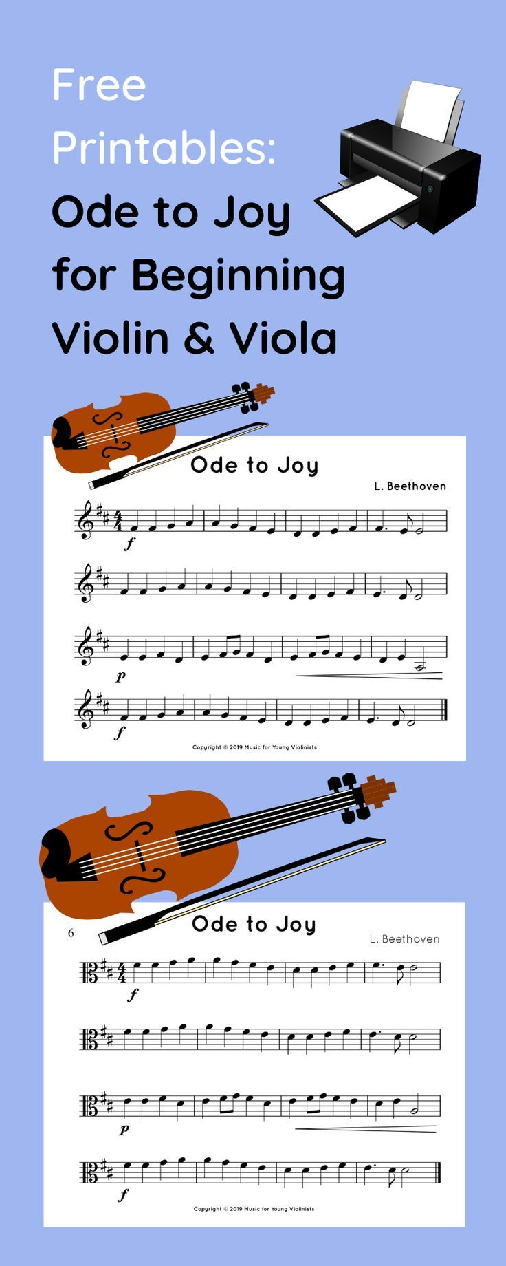 Download the sheet music to Ode to Joy for both beginning