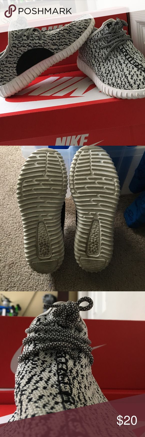 "Fake Yeezy Boost 350 ""Turtle Dove"" Worn once and is very comfy. Looks a lot like the original design of the yeezy by Kanye West. The original price was 35 dollars. Shoes Sneakers"
