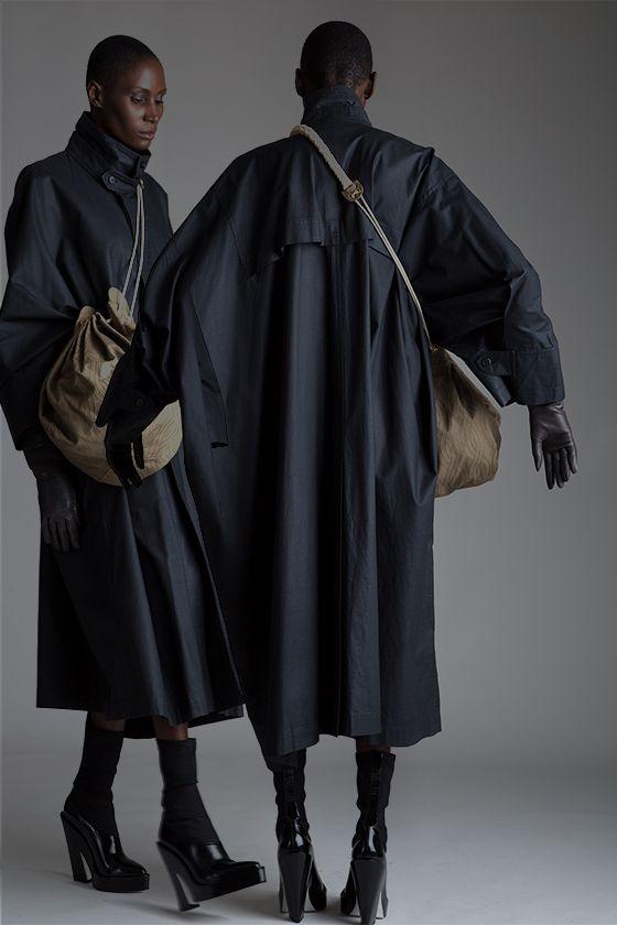 Vintage Issey Miyake Wind Coat and Fendi Drawstring Bucket Bag. Designer Clothing Dark Minimal Street Style Fashion