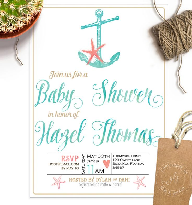 Beach Baby Shower invitation Unisex baby boy by GibbKStudio
