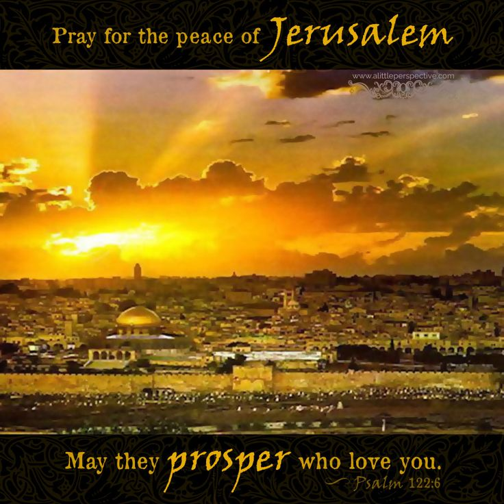 Psalm 122:6. Pray for the peace of Jerusalem...may they prosper who love you.
