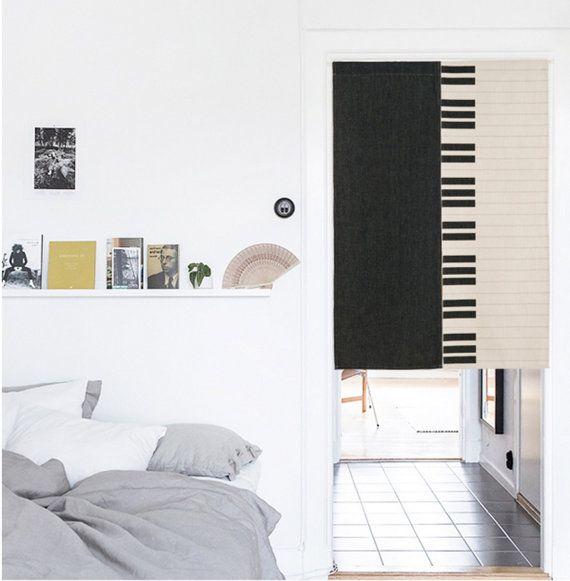 Home Dekor Kunst Leinen Tür Vorhang 3 Themen zur Auswahl: floral Dreieck/schwarz weiß Net/Klavier Schlüssel