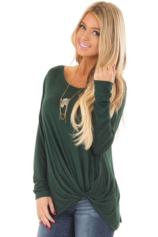 21387ba2b Lime Lush Boutique - Forest Green Long Sleeve Tee Shirt with Front Twist,  $36.99 (