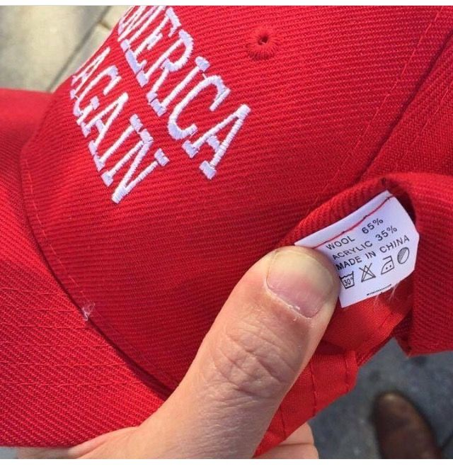 """The Cult like Stupidity, Ignorance and Insanity among Trump Supporters is astonishing. They wear these ridiculous hats (made in China) for a man who is one of the greedy corporations who """"took their jobs to China and elsewhere overseas!! They just don't get it!! They never will."""