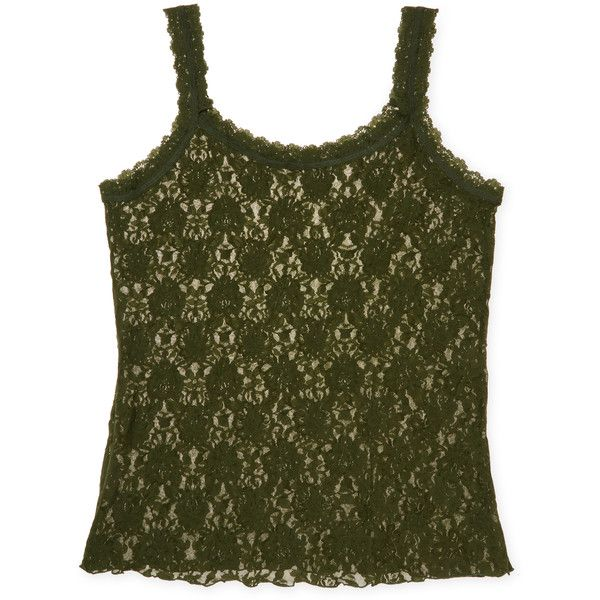 Hanky Panky Women's Plus Signature Lace Unlined Camisole - Green, Size... ($55) ❤ liked on Polyvore featuring plus size women's fashion, plus size clothing, plus size intimates, plus size camis, green, lace camisole, green camisole, plus size lace camisole, lace camis and plus size cami