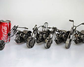 METAL SCULPTURE Chopper lover ( sell all 4 items) Motorcycle Model Recycled Handmade Art Gift for Anniversary Birthday Christmas