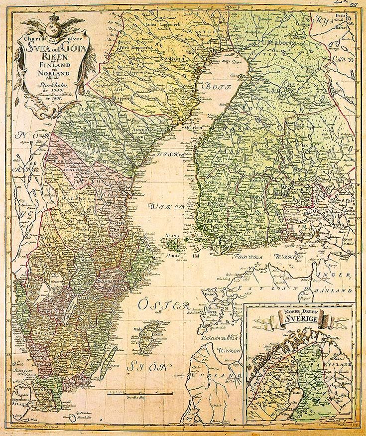 The 700-hundred-year Swedish rule ends in 1809. A map from 1747