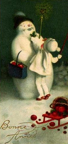 Vintage child with snowman