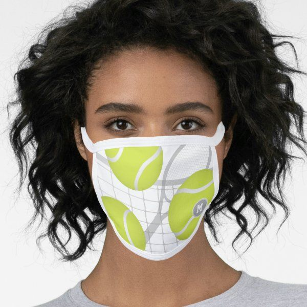 Tennis Balls W Net Racquet Accents Personalized Face Mask Zazzle Com In 2020 Tennis Balls Racquets Face Mask